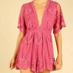 NWT Wild Honey Lace Romper in Pink Berry Color